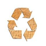 回收从木头的商标在白色背景 库存照片