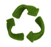 回收从草的标志。隔绝在白色 库存照片