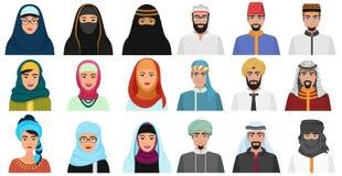 回教动画片人象 阿拉伯回教具体化回教面孔头男性和女性 皇族释放例证
