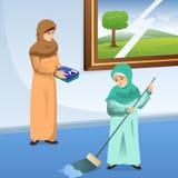 回教在家做差事的母亲和女儿 向量例证