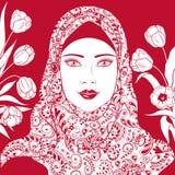 回教女孩的等高图象hijab的 库存例证