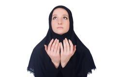 年轻回教妇女祈祷 免版税库存照片