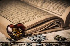 回教标志koran背景的穆罕默德先知 免版税库存照片