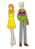 年轻回教男孩和女孩 向量例证
