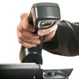 回答商人的手的特写镜头挂掉电话或telephon 库存图片