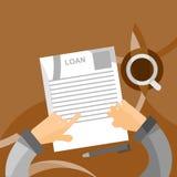 回顾借款申请形成在平的样式的概念 库存照片