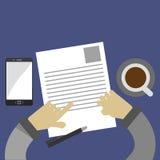 回顾在平的样式的商业文件 免版税库存图片