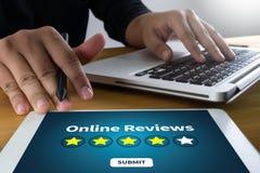 回顾检查评估的网上回顾评估时间 免版税库存照片