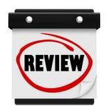 回顾词挂历日期天提示评估测试Rati 库存图片