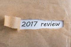 2017回顾-揭露信件 一个通过的年总结和回顾概念 库存图片