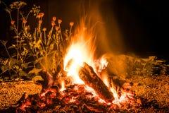 因为背景是使用的美好的罐头火火焰晚上 库存照片