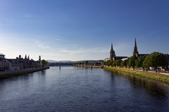 因弗内斯,苏格兰早日落视图  库存照片