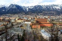 因斯布鲁克,奥地利全景  库存图片
