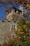 因特罗德中世纪城堡,瓦莱达奥斯塔,意大利 秋天 库存照片