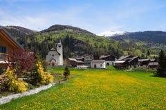 因登村庄,瓦雷兹,瑞士的小行政区 库存图片