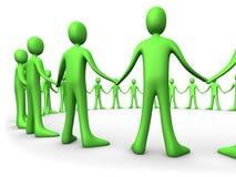 团结的绿色人小组 免版税库存图片