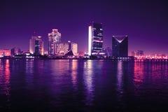 团结的阿拉伯迪拜酋长管辖区晚上 库存照片