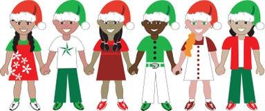 团结的2个圣诞节孩子 免版税库存图片