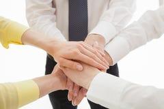 团结他们的手- uniion的姿态的商人 免版税库存照片