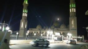 团结的ajman阿拉伯酋长管辖区清真寺晚上 库存照片