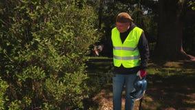 园丁修剪灌木 股票视频