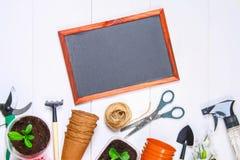 园艺工具、罐、幼木和黑板在一张白色木桌上 复制空间 顶视图 免版税图库摄影
