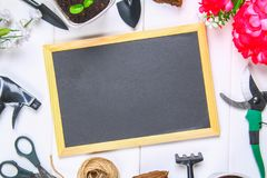 园艺工具、罐、幼木和黑板在一张白色木桌上 复制空间 顶视图 库存图片