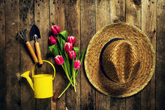 园艺工具、花、喷壶、胶靴和秸杆h 库存图片