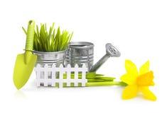 园艺工具、草和花 免版税图库摄影