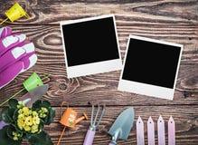 园艺工具和照片框架在一张木桌上 免版税库存图片