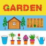 园艺工具和花网横幅 免版税库存照片