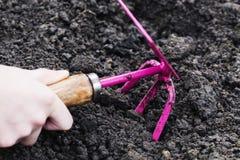 园艺工具在土壤背景的手上 春天庭院运作概念 免版税库存图片