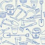 园艺工具无缝的样式 免版税库存照片