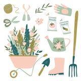 园艺工具集合 从事园艺的元素的传染媒介例证 愉快的从事园艺的设计 库存图片