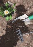 园艺工具,铁锹,犁耙,喷壶,桶, pla的片剂 库存图片
