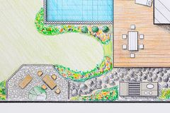 园艺师设计露台后院计划 免版税库存照片