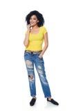困厄的牛仔裤的全长质朴的女性 库存图片