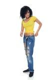 困厄的牛仔裤的全长质朴的女性 免版税库存图片