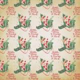 困厄的葡萄酒假日背景-圣诞老人拼贴画数字裱糊-纸在飞行中的圣诞老人 库存例证