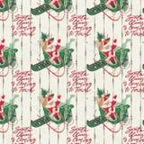 困厄的葡萄酒假日背景-圣诞老人拼贴画数字裱糊-纸在飞行中的圣诞老人 皇族释放例证