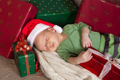 困婴孩的圣诞节 库存照片