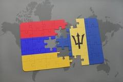 困惑与亚美尼亚和巴巴多斯的国旗世界地图的 免版税库存照片