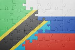 困惑与俄罗斯和坦桑尼亚的国旗 图库摄影