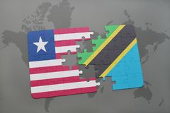 困惑与利比里亚和坦桑尼亚的国旗世界地图的 图库摄影
