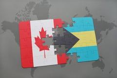 困惑与加拿大和巴哈马的国旗世界地图背景的 向量例证