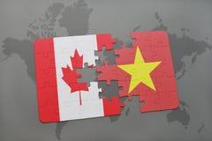 困惑与加拿大和越南的国旗世界地图背景的 皇族释放例证