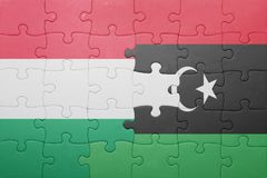 困惑与匈牙利和利比亚的国旗 免版税库存照片
