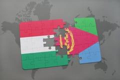 困惑与匈牙利和厄立特里亚国旗世界地图的 图库摄影