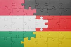 困惑与匈牙利和德国的国旗 库存照片