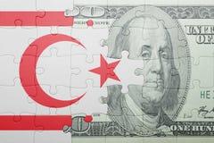 困惑与北塞浦路斯和美元钞票国旗  免版税图库摄影